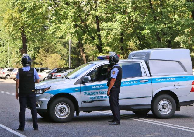 Kazakhstan Police in the city of Almaty