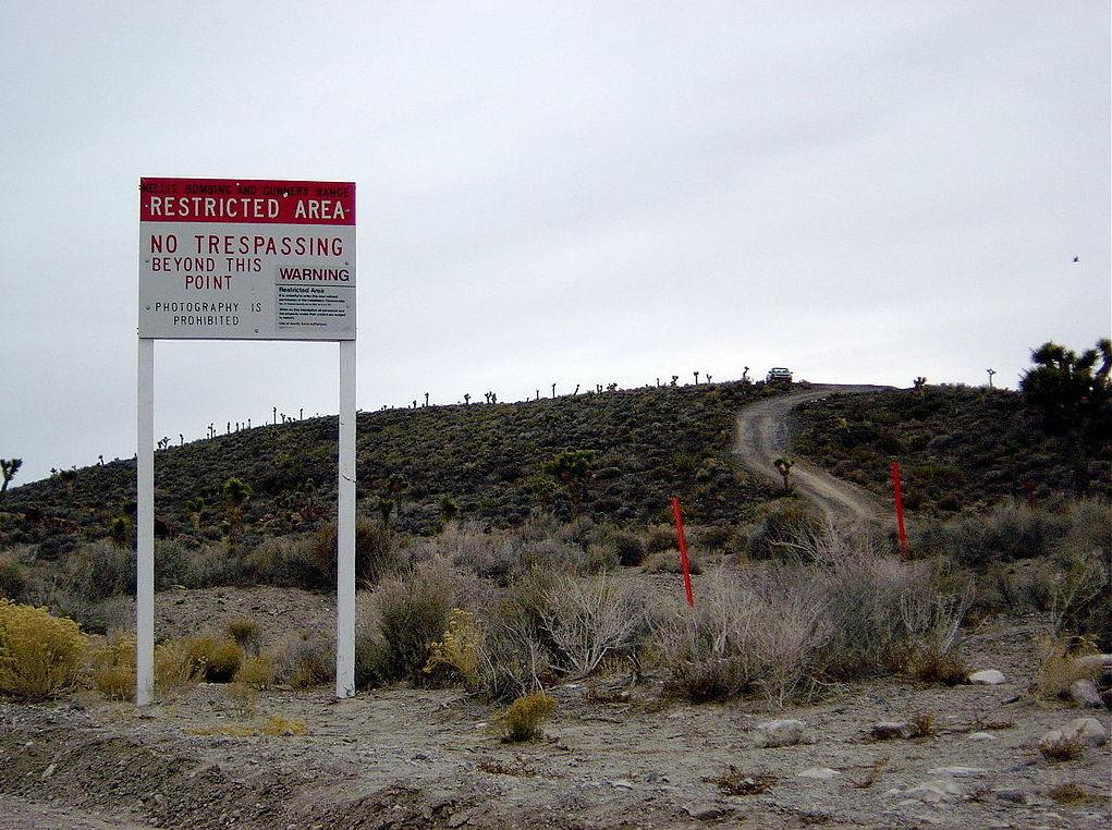 Warning sign near secret Area 51 base in Nevada