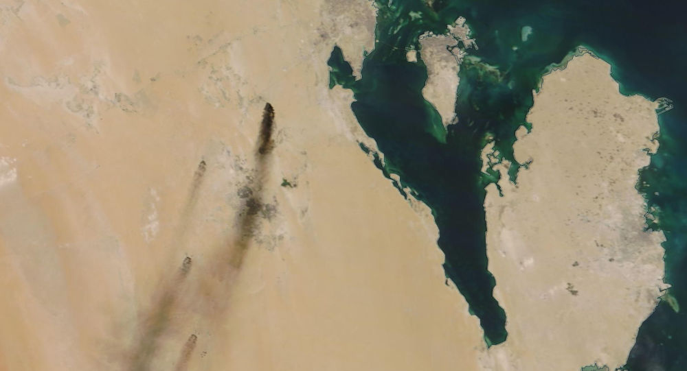 On 14 September 2019, a satellite image provided by NASA Worldview shows fires following a drone attack on two major oil installations in eastern Saudi Arabia; Yemen's Houthi rebels have claimed responsibility.