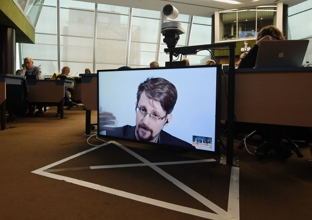 Former US National Security Agency (NSA) contractor and whistleblower Edward Snowden speaks via video link from Russia as he takes part in a round table meeting on the subject of Improving the protection of whistleblowers on 15 March 2019, at the Council of Europe in Strasbourg, eastern France