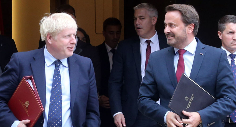 British Prime Minister Boris Johnson (L) and Luxembourg's Prime Minister Xavier Bettel (R) leave a meeting with EU Commission President and officials in Luxembourg on 16 September 2019.