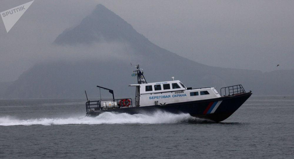Primorye coast guard motorboat in the Sea of Japan