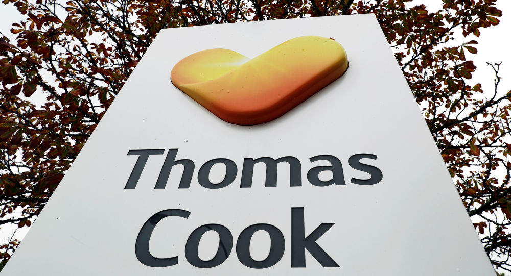 The Thomas Cook logo is seen at their German headquarters in Oberursel, near Frankfurt, Germany September 23, 2019