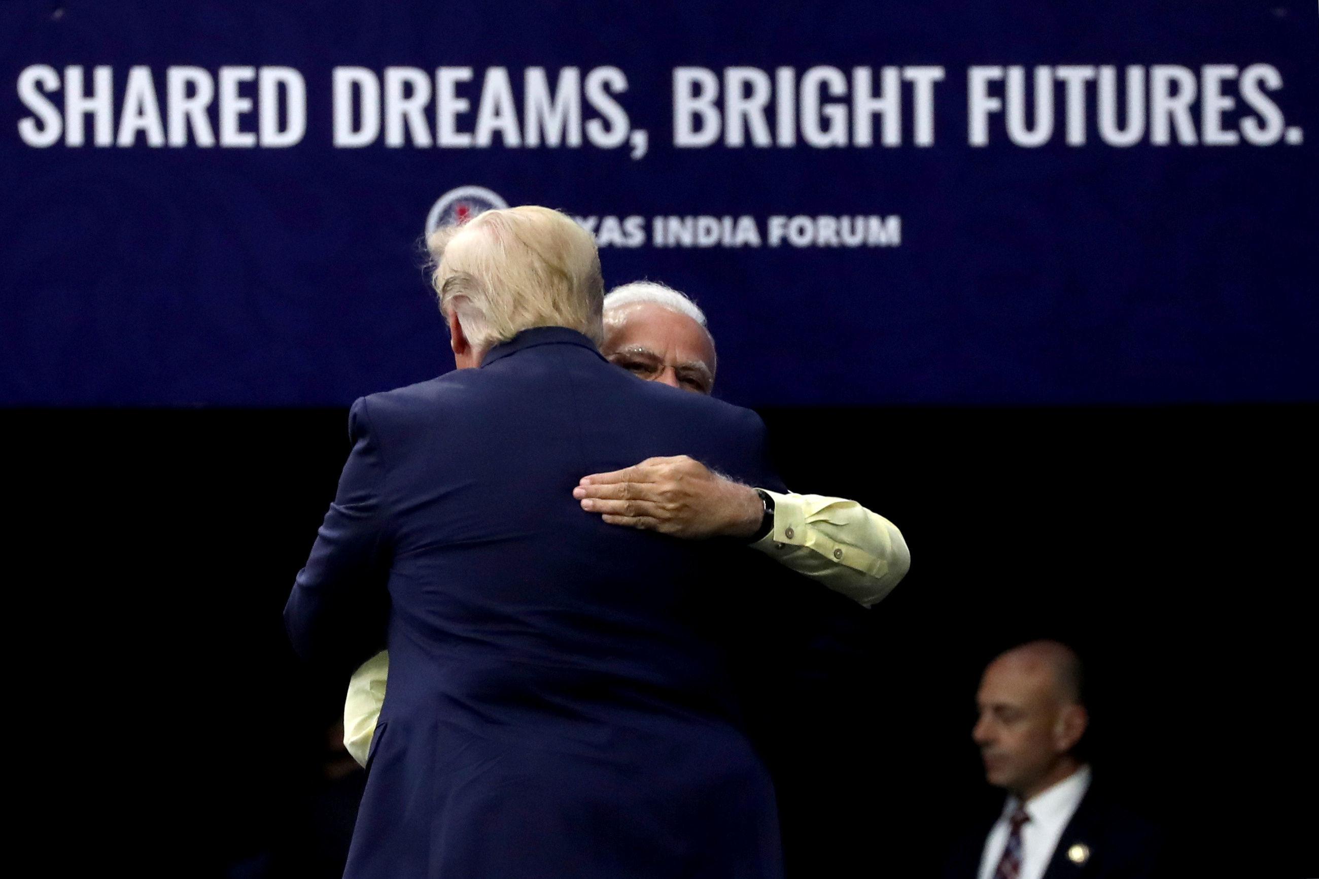U.S. President Donald Trump and Indian Prime Minister Narendra Modi during a Howdy, Modi rally celebrating Modi at NRG Stadium in Houston, Texas, U.S. September 22, 2019.