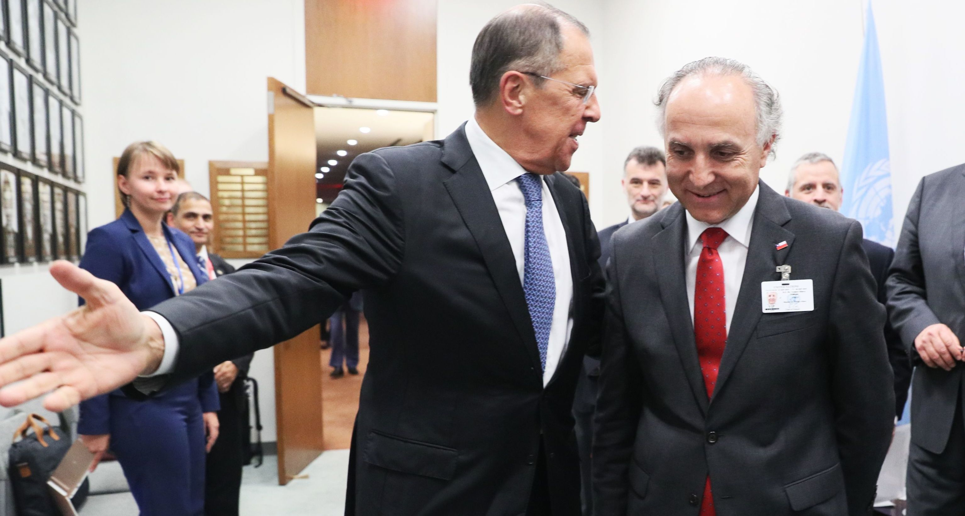 Russian Foreign Minister Sergey Lavrov and Chile's Foreign Minister Teodoro Ribera