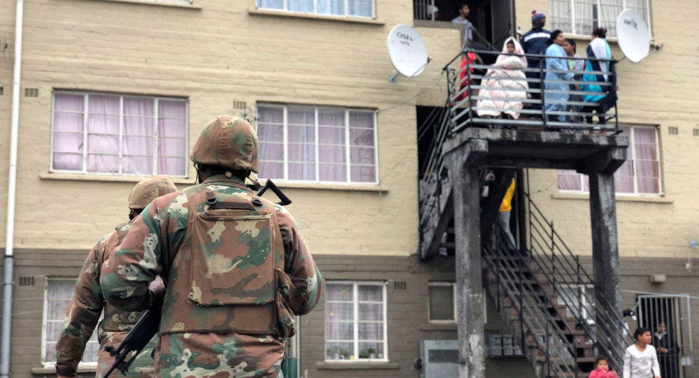 Soldiers patrol against gang violence in Manenberg township, Cape Town, South Africa, July 18, 2019