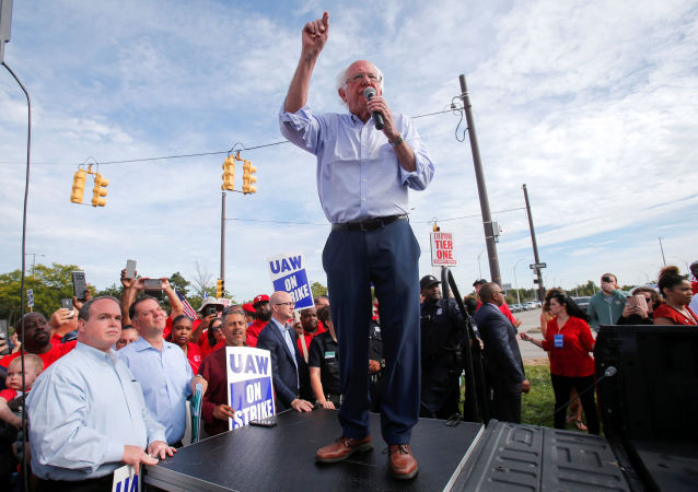 Democratic US presidential candidate Senator Bernie Sanders