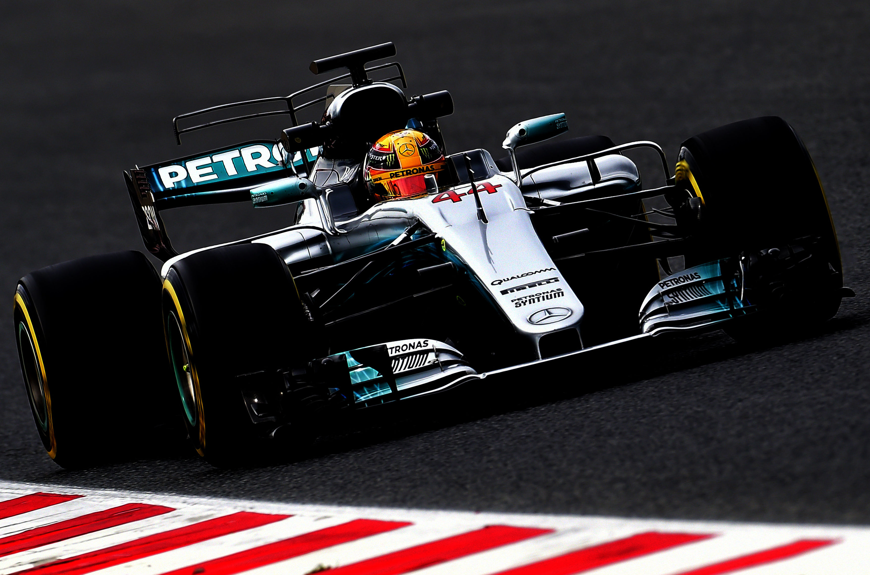 Mercedes AMG Petronas F1 Team's British driver Lewis Hamilton drives at the Circuit de Catalunya on February 28, 2017 in Montmelo on the outskirts of Barcelona during the second day of the first week of tests for the Formula One Grand Prix season