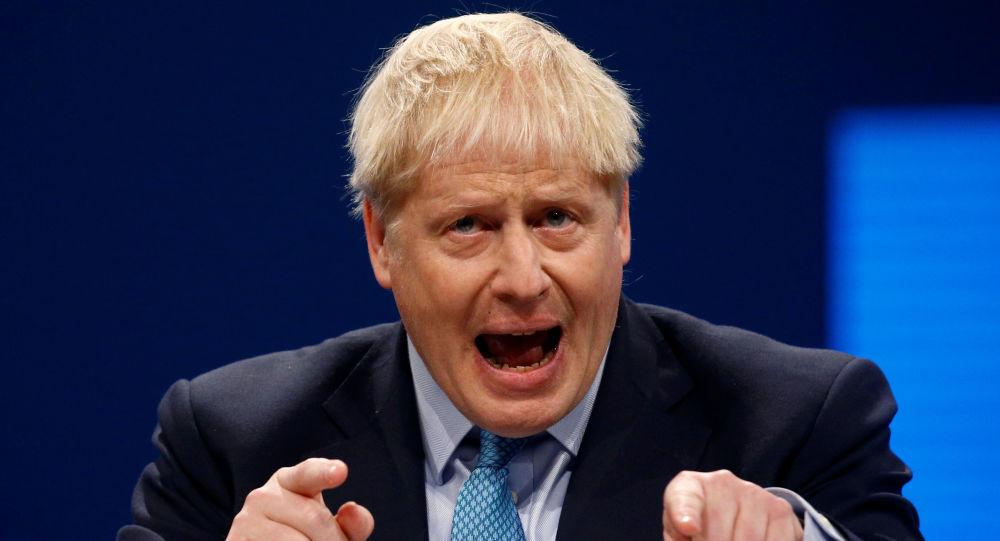 Britain's Prime Minister Boris Johnson gives a closing speech at the Conservative Party annual conference in Manchester, Britain, October 2, 2019.