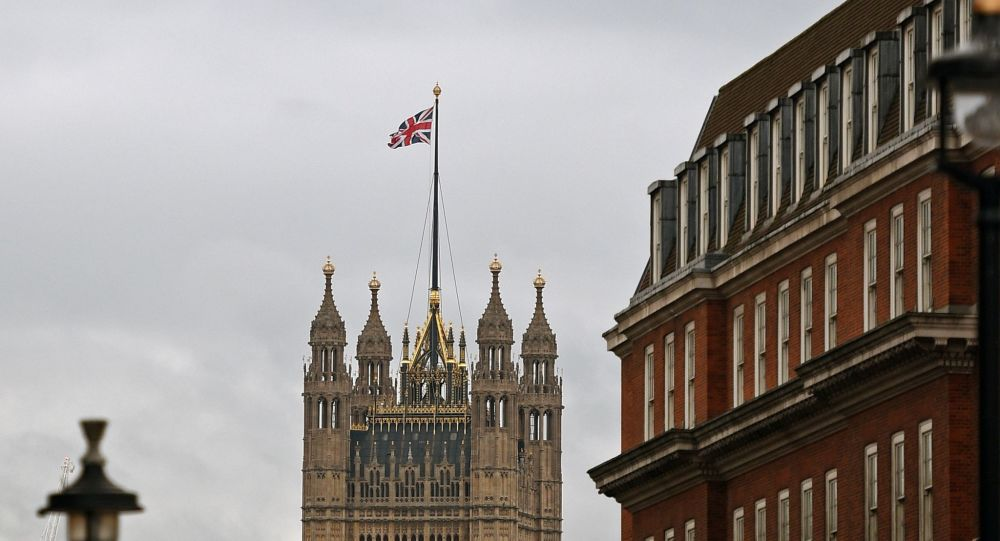 A Union flag is pictured flying in Westminster, and at the Houses of Parliament in central London on January 16, 2019.