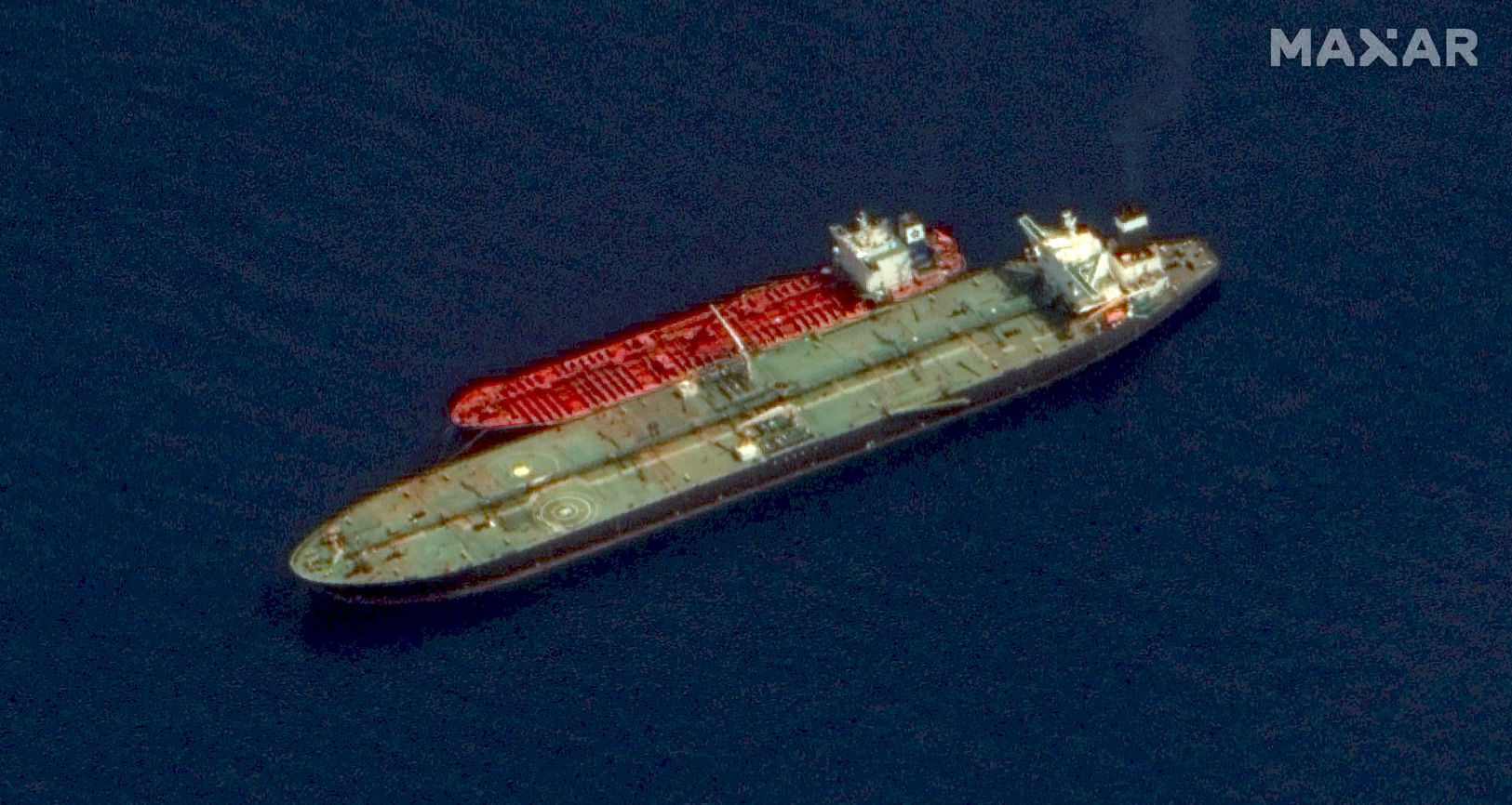 Two Iranian-flagged tankers, the Adrian Darya 1 and the Jasmine, is shown in this satellite image handout released on October 3, 2019 by Maxar Technologies