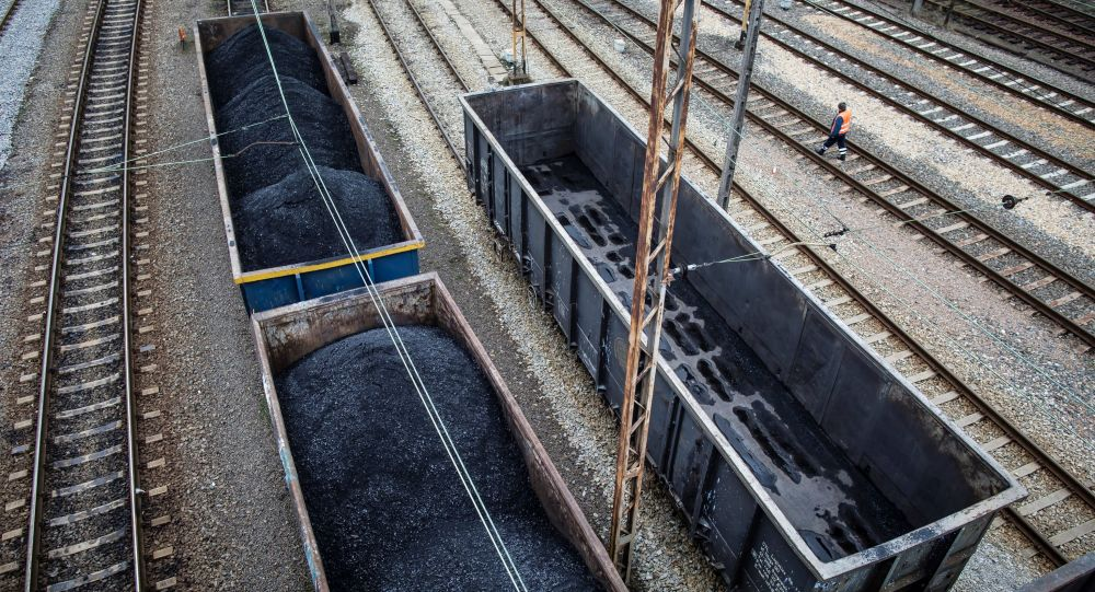 A picture taken on March 15, 2019 shows wagons loaded with coal on a side track at Towarowy station in the southern Polish coal mining town of Rybnik