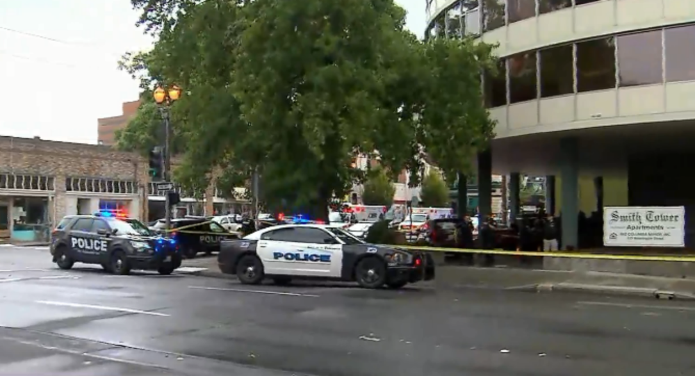 Image shows police scene outside the Smith Towers retirement home in Vancouver, Washington State.
