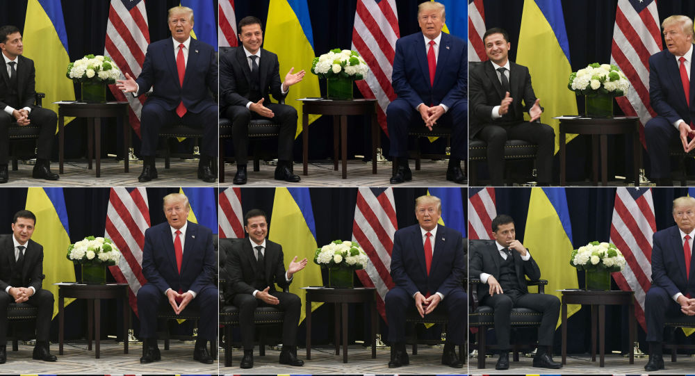 This combination of pictures created on 26 September 2019 shows US President Donald Trump speaking with Ukrainian President Volodymyr Zelensky on during a meeting in New York on 25 September 2019, on the sidelines of the United Nations General Assembly