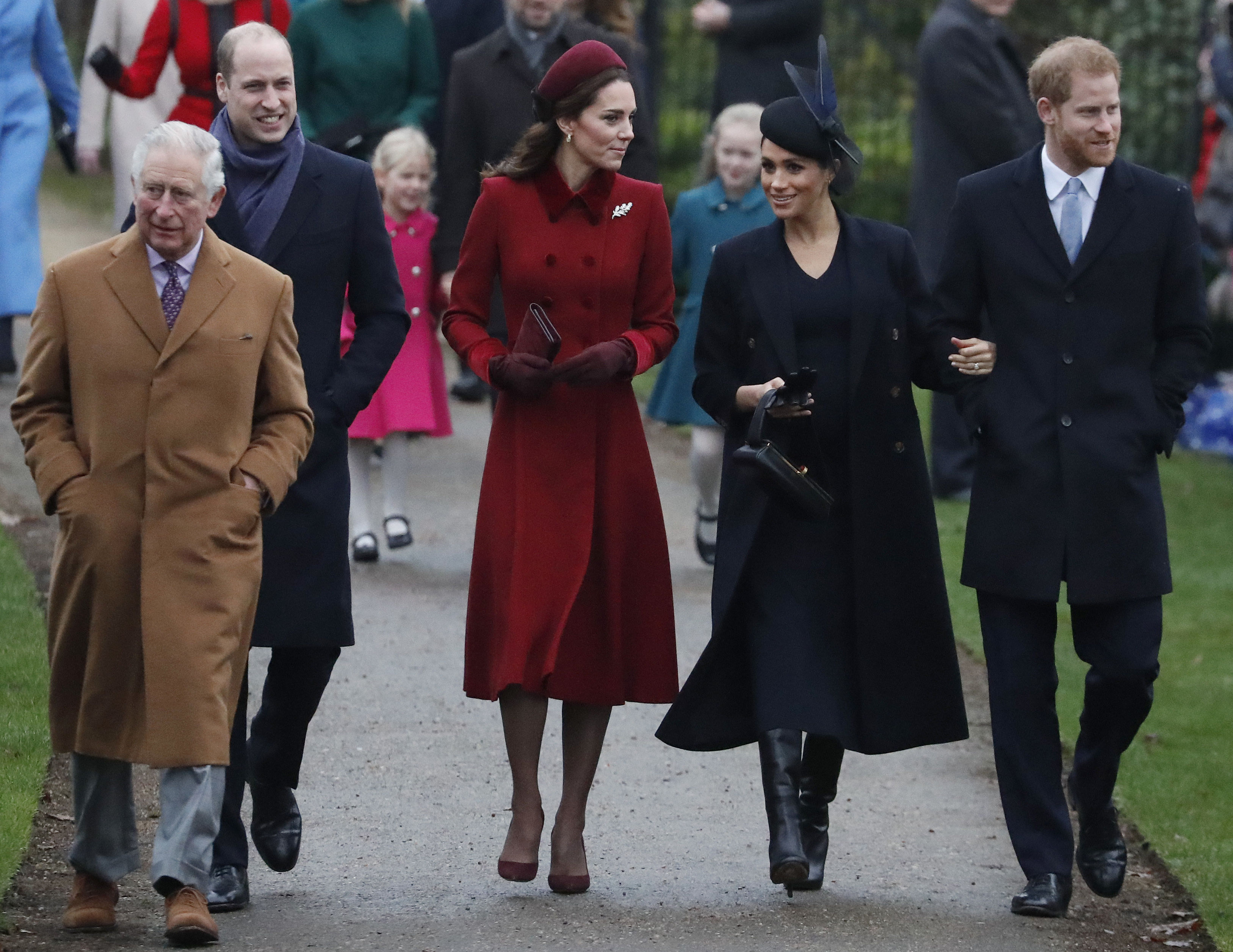 Britain's Royal family arrive to attend the Christmas day service at St Mary Magdalene Church in Sandringham in Norfolk, England, Tuesday, Dec. 25, 2018