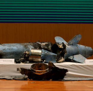 Remains of the missiles which Saudi government says were used to attack an Aramco oil facility, are displayed during a news conference in Riyadh, Saudi Arabia September 18, 2019.