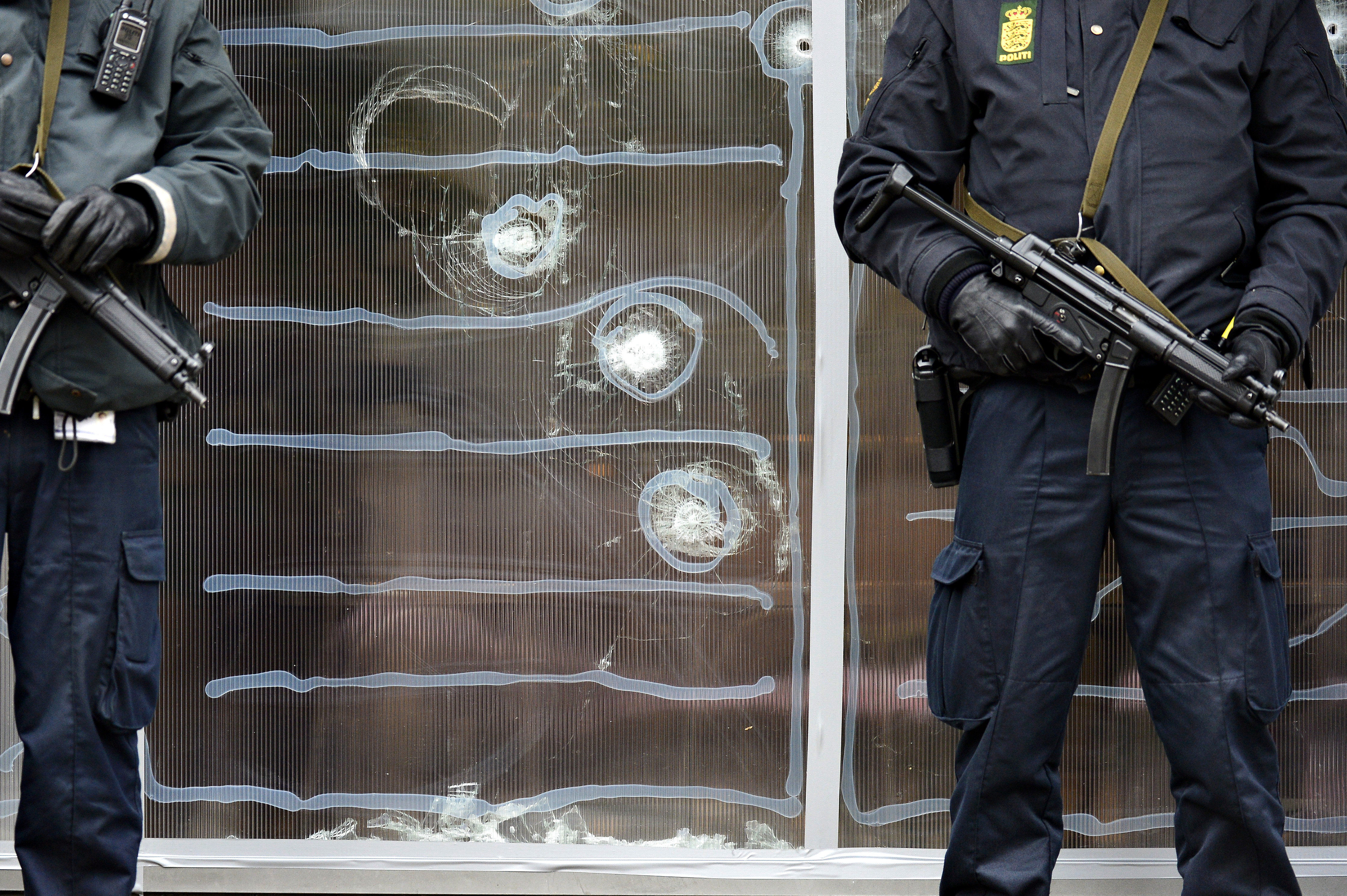 Danish police guards stand at the entrence of the cultural center Krudttonden in Copenhagen, Denmark. File photo