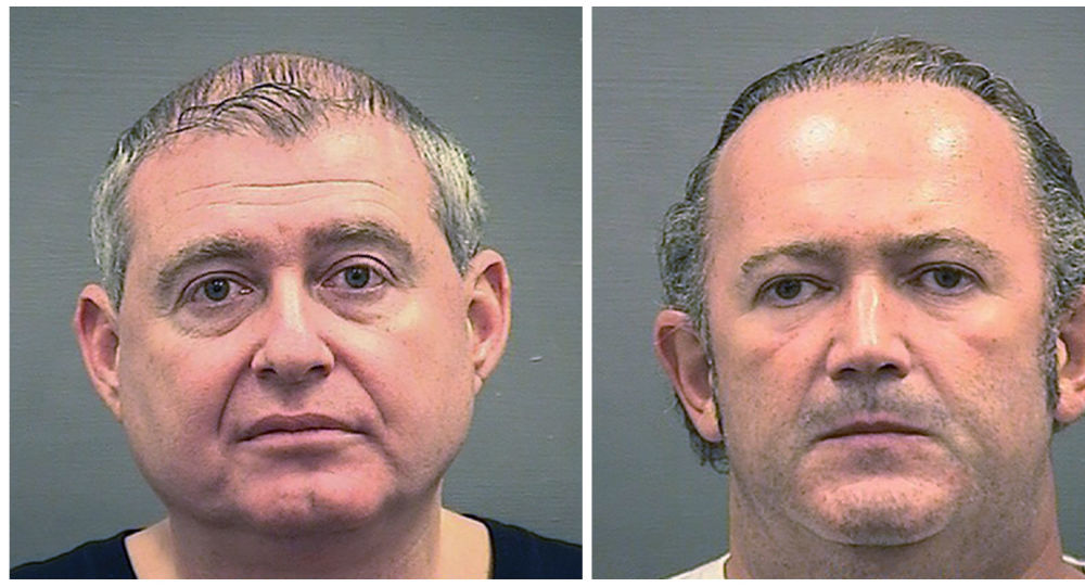 Photos provided by the Alexandria Sheriff's Office shows booking photos of Lev Parnas, left, and Igor Fruman.
