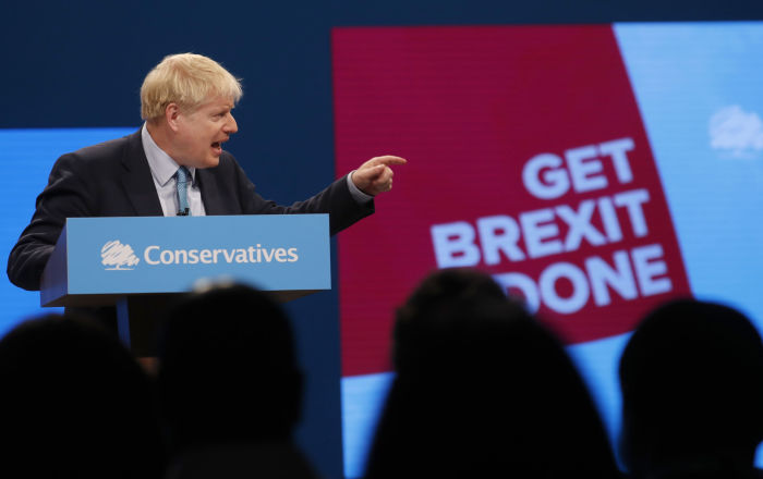 Britain's Prime Minister Boris Johnson delivers his Leader's speech at the Conservative Party Conference