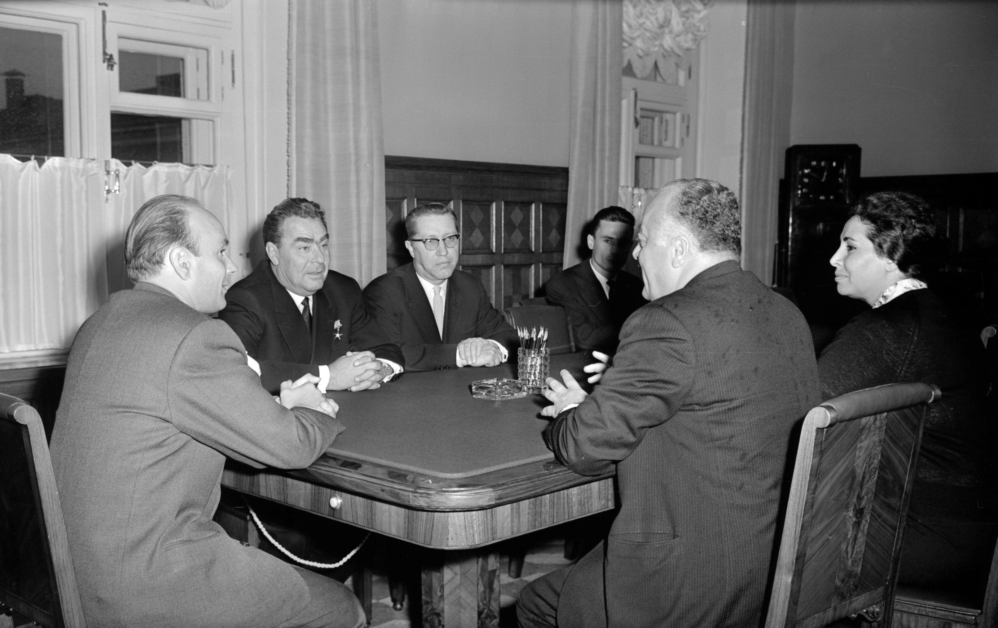 Moscow stay of a representative of the Kingdom of Saudi Arabia. Reception of the representative of Saudi Arabia Ahmad Shukeiri by L.I. Brezhnev, 1962