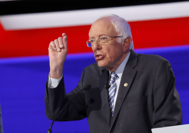Democratic presidential candidate Sen. Bernie Sanders, I-Vt., participates in a Democratic presidential primary debate hosted by CNN/New York Times at Otterbein University, Tuesday, Oct. 15, 2019, in Westerville, Ohio.