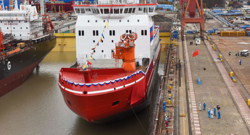 This photo taken on September 10, 2018 shows Xuelong 2, China's first domestically-built icebreaker, being launched at a shipyard in Shanghai