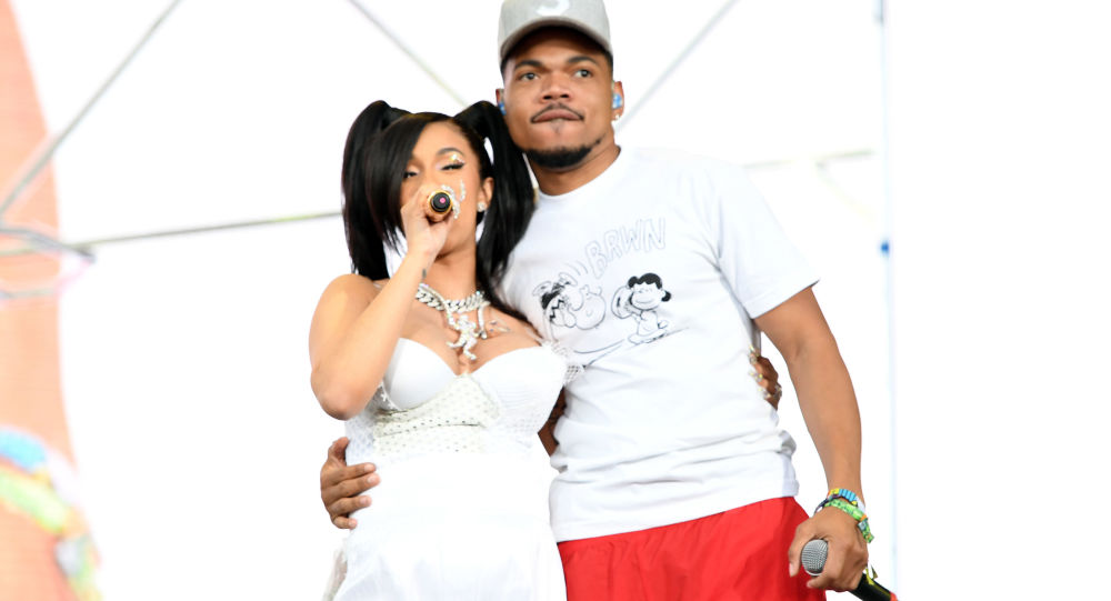 Cardi B (L) and Chance the Rapper perform onstage during the 2018 Coachella Valley Music and Arts Festival Weekend 1 at the Empire Polo Field on April 15, 2018 in Indio, California