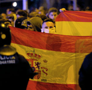 Protesters hold Spanish flags during a pro-union demonstration
