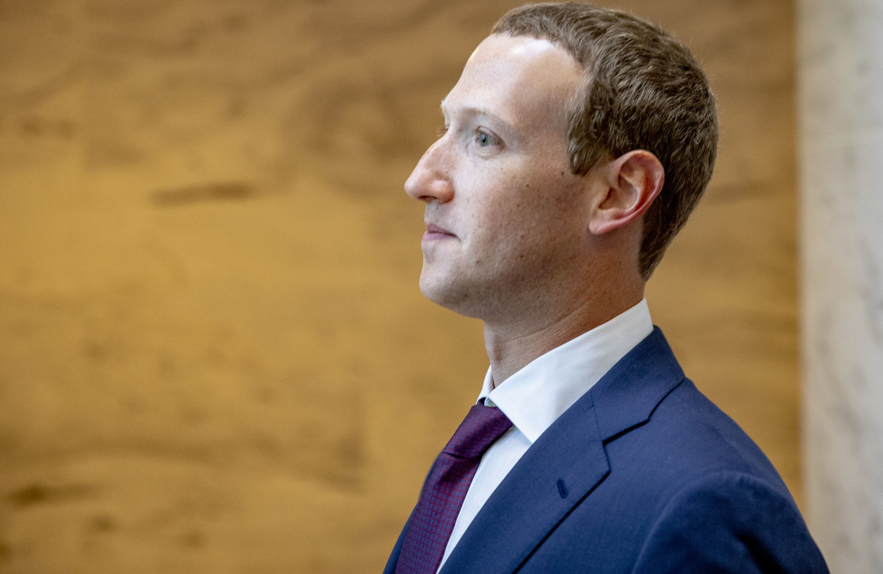 Facebook founder and CEO Mark Zuckerberg leaves a meeting with Senator John Cornyn (R-TX) in his office on Capitol Hill on September 19, 2019 in Washington, DC.