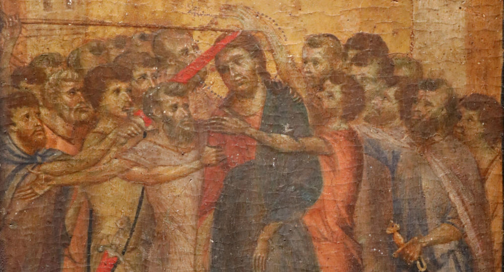 The painting Christ Mocked, a long-lost masterpiece by Florentine Renaissance artist Cimabue in the late 13th century, which was found months ago hanging in an elderly woman's kitchen in the town of Compiegne, is displayed in Paris, France, September 24, 2019