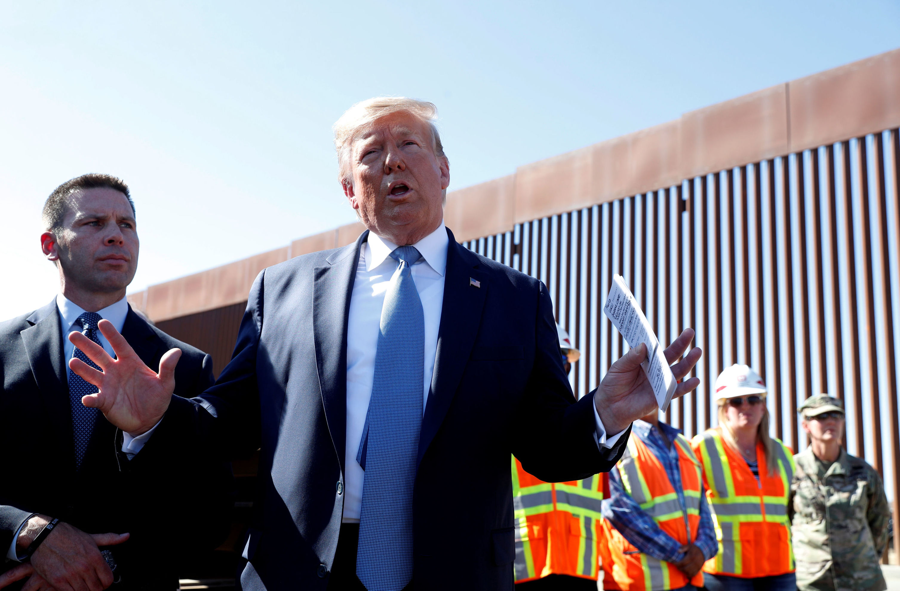 U.S. President Donald Trump speaks during his visit to a section of the U.S.-Mexico border wall in Otay Mesa, California, U.S. September 18, 2019