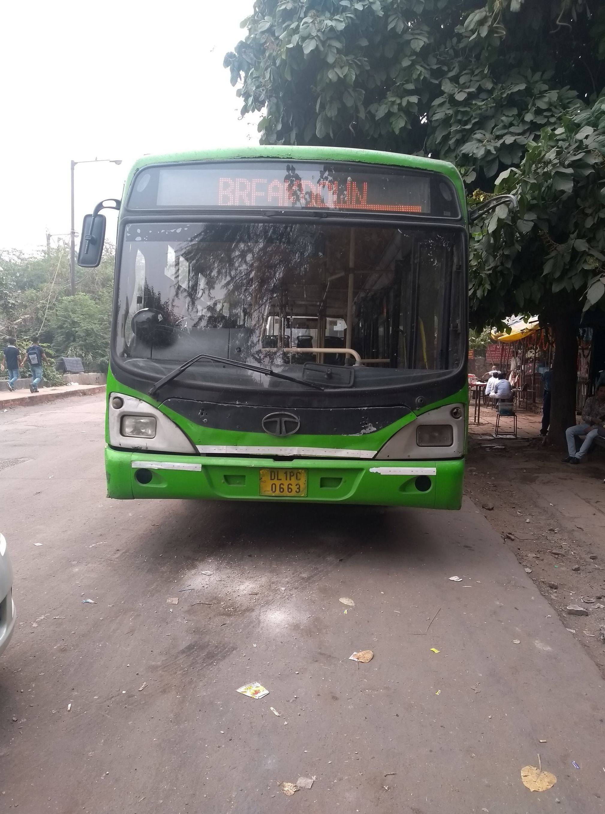 A broken down bus