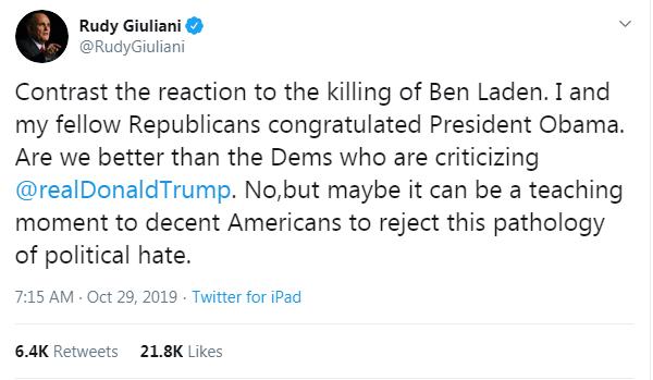 Screenshot of Rudy Giuliani's tweet