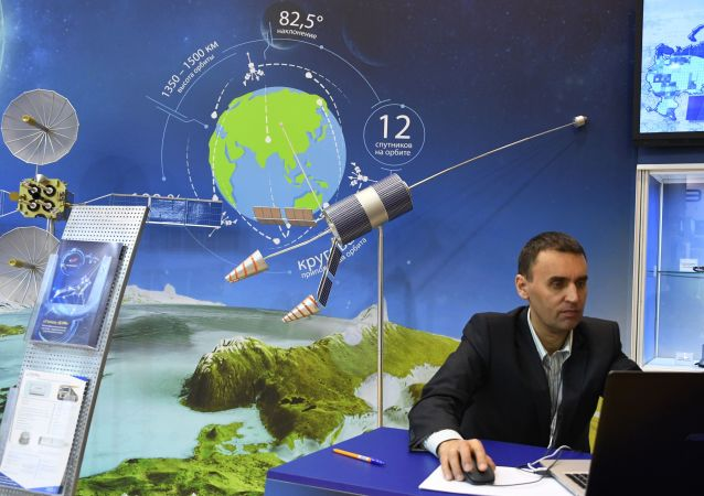 Satellite system Gonets, presented at the stand of the state corporation Roscosmos