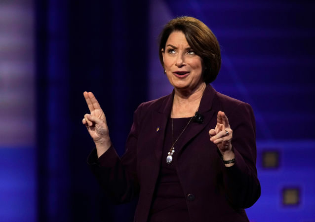 Democratic 2020 US presidential candidate Senator Amy Klobuchar (D-MN) gestures during a televised townhall on CNN dedicated to LGBTQ issues in Los Angeles, 10 October 2019.