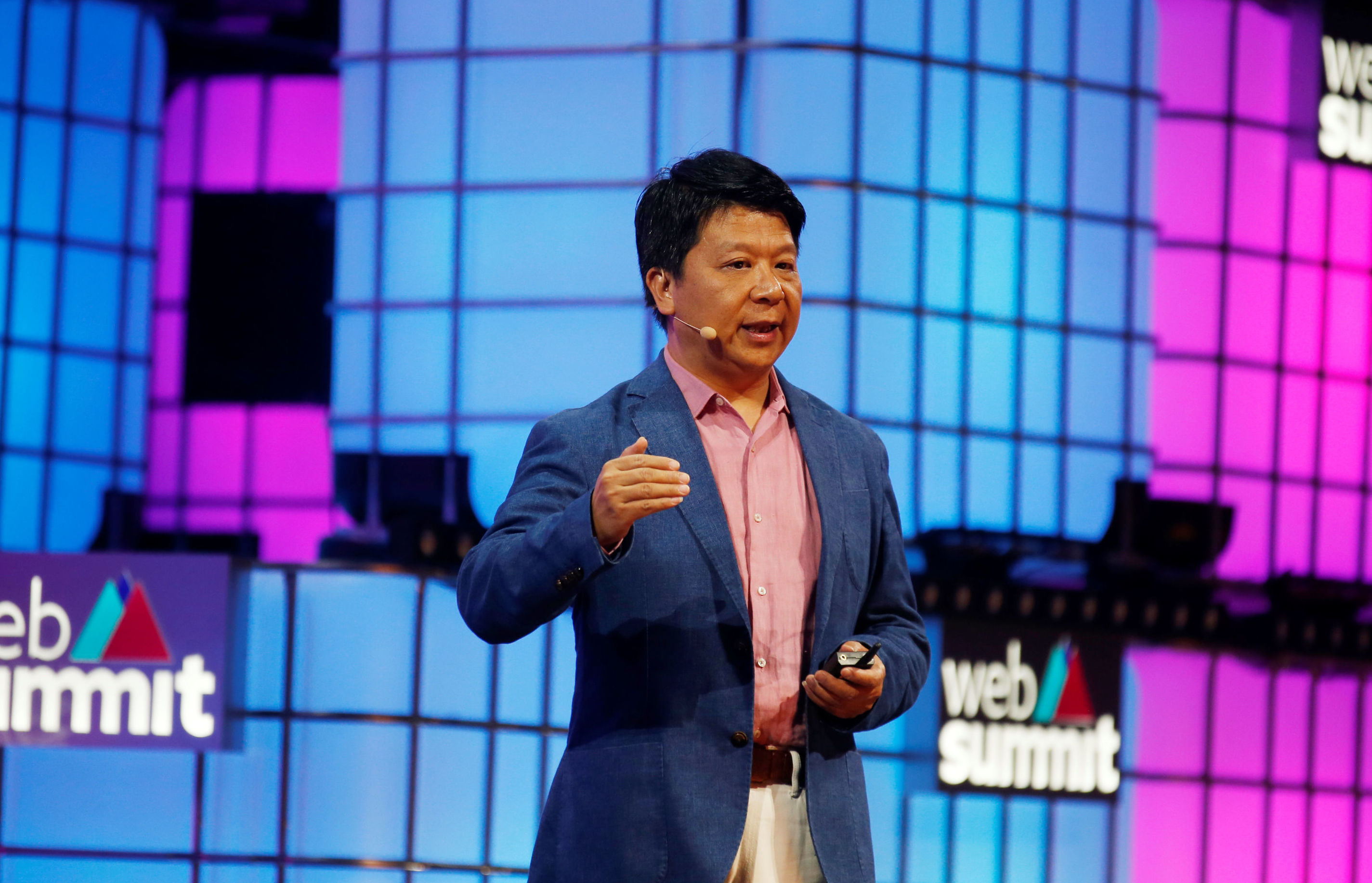 Huawei's rotating chairman Guo Ping speaks during the Web Summit in Lisbon, Portugal, November 4, 2019