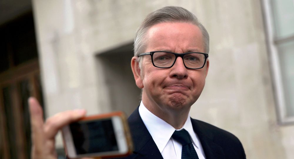 Britain's Justice Secretary Michael Gove leaves the BBC headquarters and studios at Portland Place in London, Britain June 19, 2016.