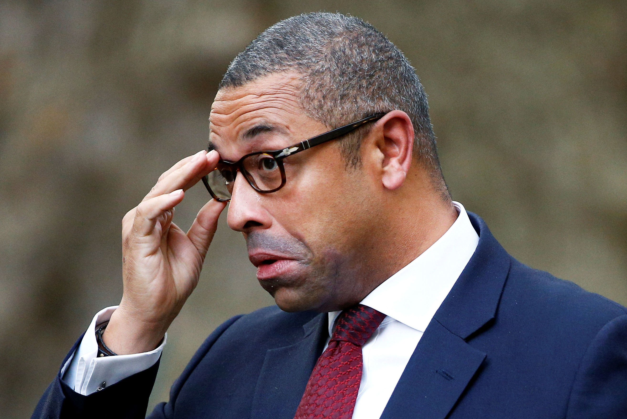 Britain's Conservative Party Chairman James Cleverly is seen outside Downing Street in London, Britain, October 16, 2019