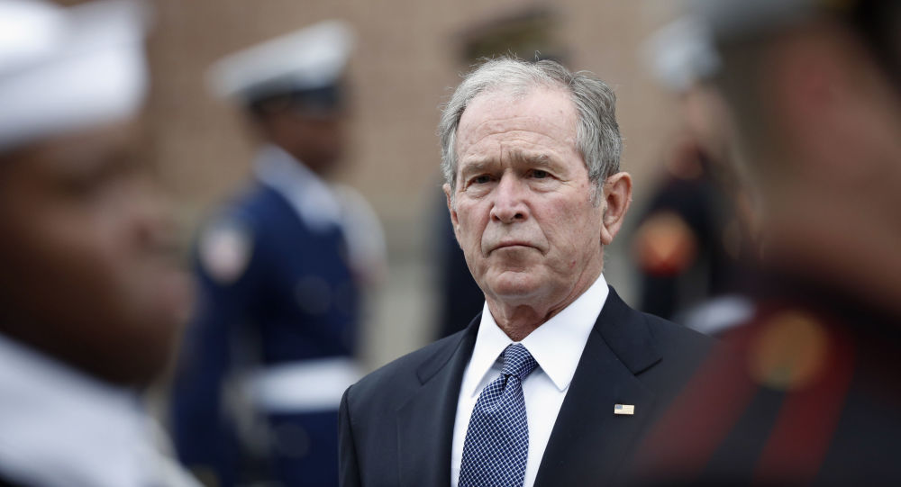 Former President George W. Bush leaves St. Martin's Episcopal Church in Houston after the funeral service for his father