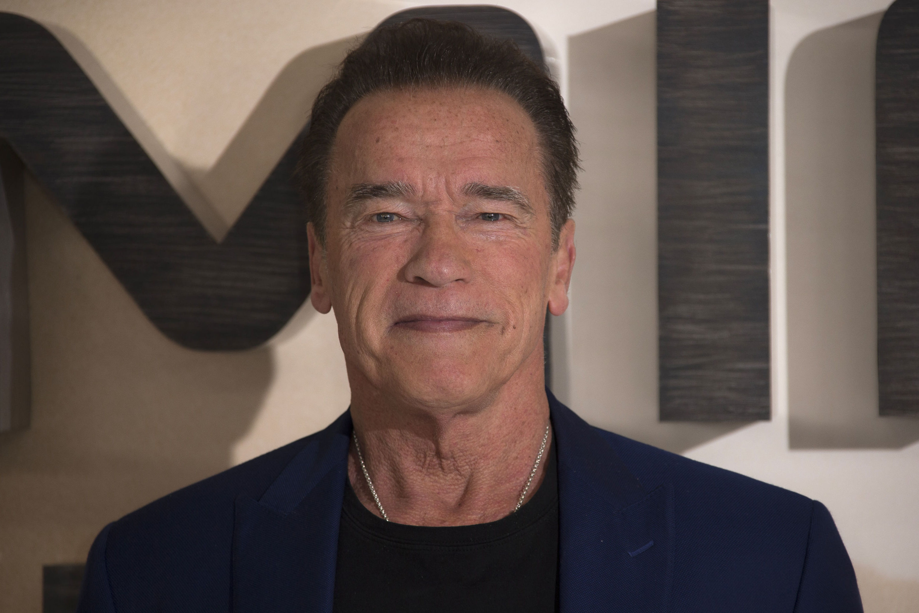 Actor Arnold Schwarzenegger poses for photographers upon arrival at the photo call of 'Terminator: Dark Fate' at a central London hotel, Thursday, Oct. 17, 2019.