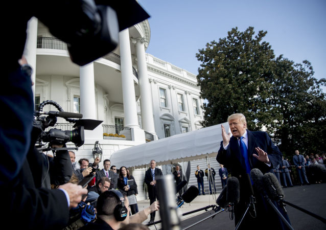 President Donald Trump speaks to reporters on the South Lawn of the White House in Washington, Friday, Nov. 8, 2019, before boarding Marine One for a short trip to Andrews Air Force Base, Md. and then on to Georgia to meet with supporters.