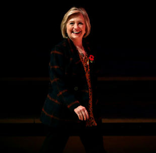 Former U.S. Secretary of State Hillary Clinton arrives to attend an event promoting The Book of Gutsy Women at the Southbank Centre in London, Britain, November 10, 2019
