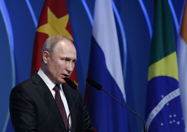 Russia's President Vladimir Putin speaks during the BRICS Business Council prior the 11th edition of the BRICS Summit, in Brasilia, Brazil, Wednesday, Nov. 13, 2019