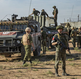 Russian military police near the town of Darbasiyah in Syria