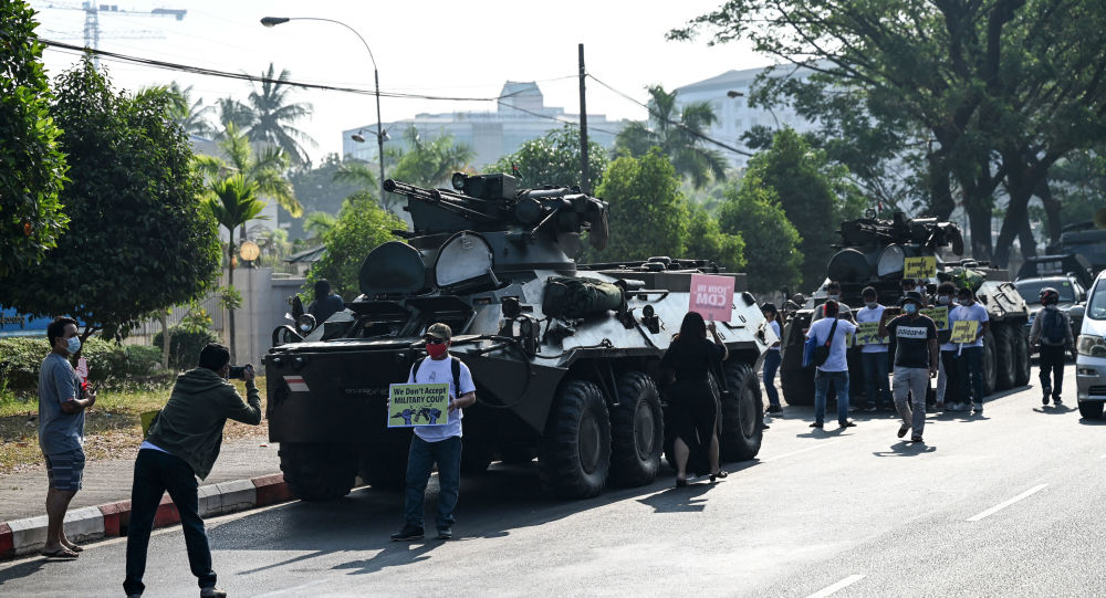 Riot Control Vehicles Deployed Near Myanmar Central Bank in Yangon Amid Protests, Reports Say
