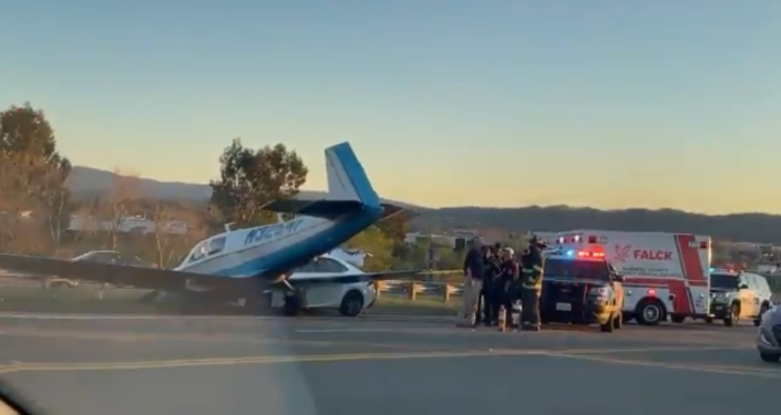 Video: Small Plane Crashes Into Car on Interstate in Livermore, California