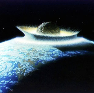Artist's impression of asteroid hitting earth