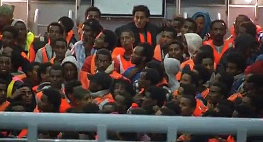 Migrants on abandoned Mediterranean boat