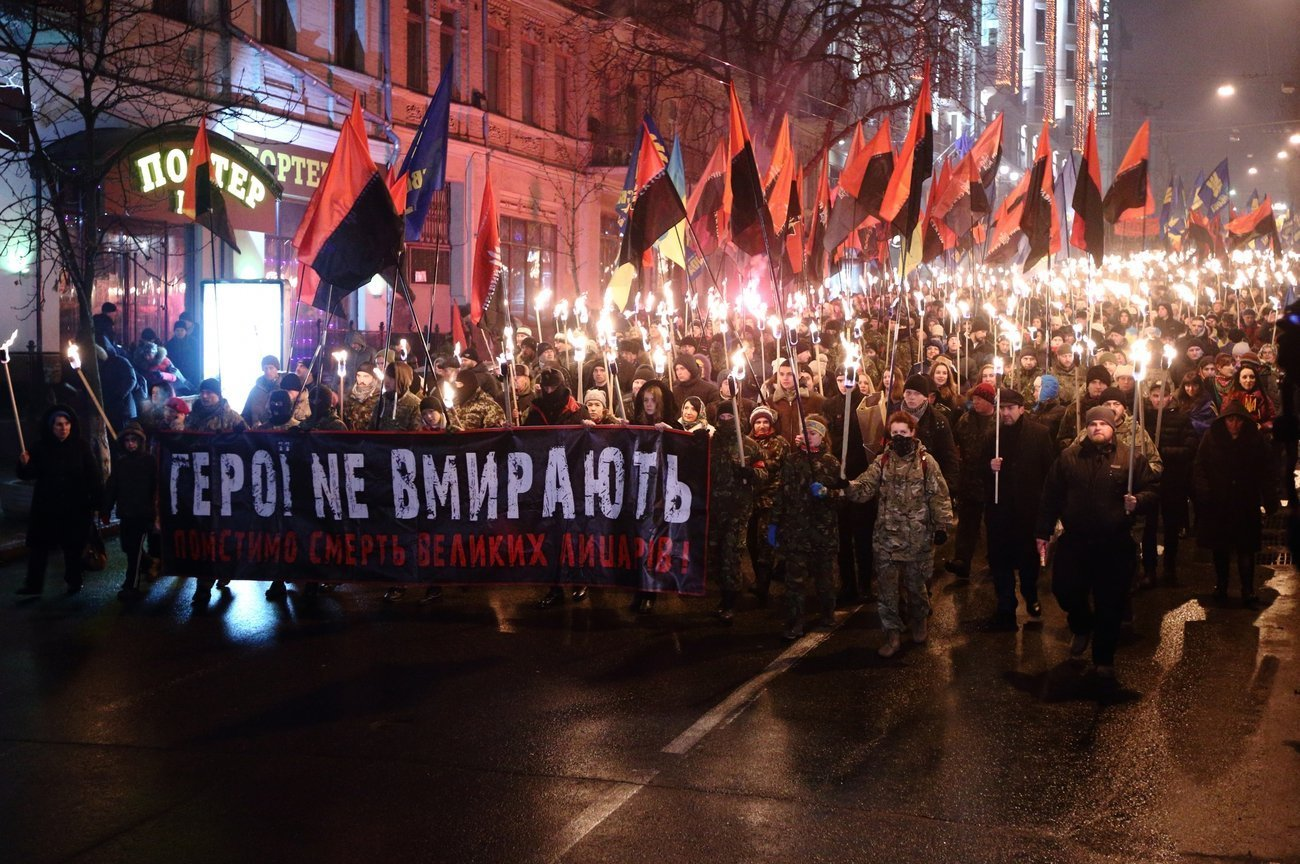 Torch procession in Kiev commemorating Stepan Bandera, leader of the Organization of Ukrainian Nationalists