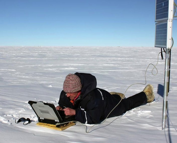 Russian scientist working at the Vostok station in Antarctica, 2014